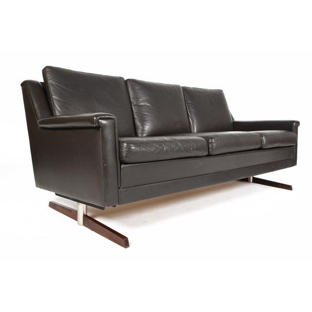 danish modern black leather rosewood sofa chairish
