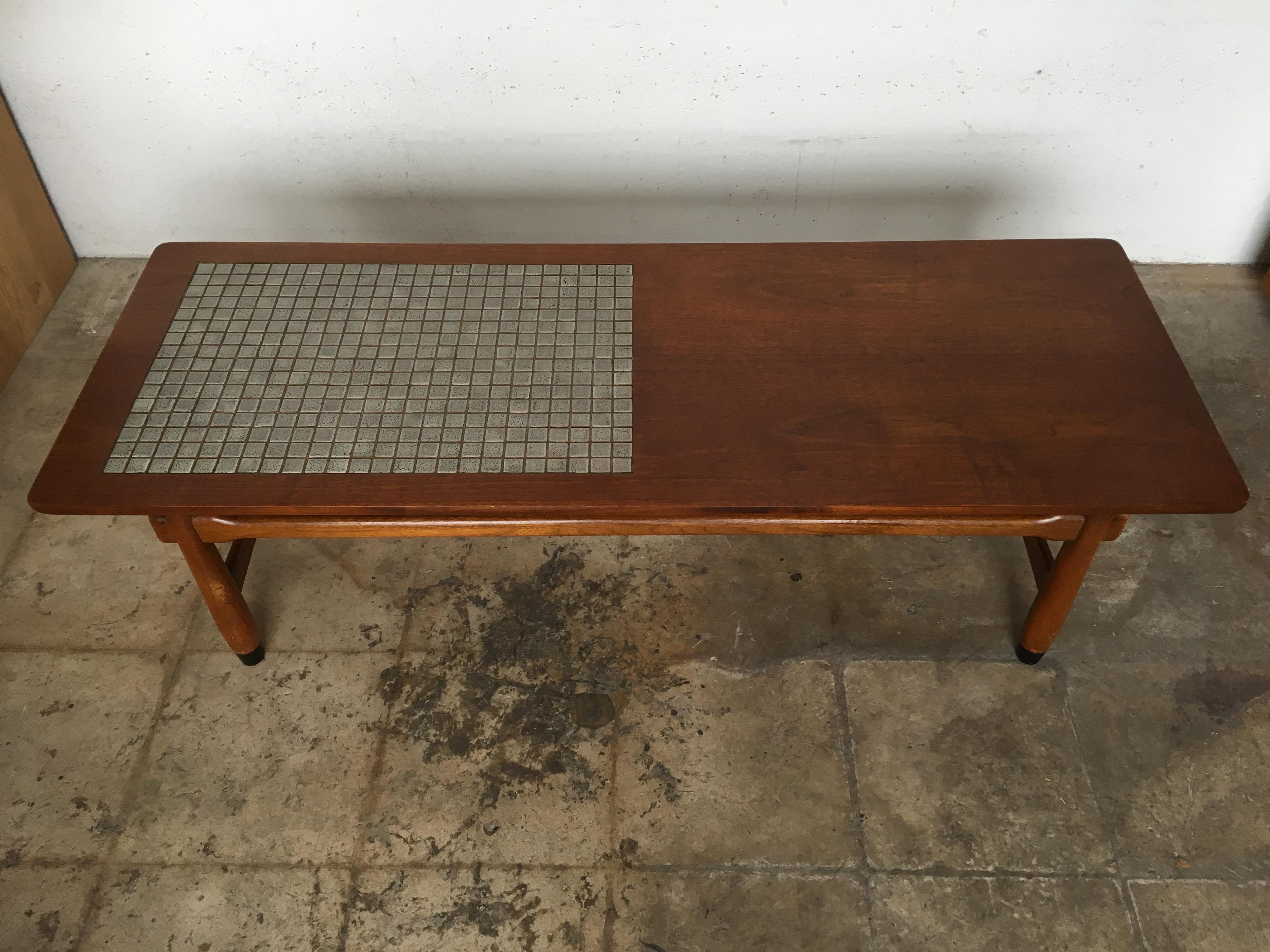 Vintage Mid Century Modern Lane Mosaic Top Coffee Table   Image 3 Of 10