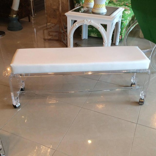 Lucite White Leather Waterfall End of Bed Bench Seat - Image 7 of 10