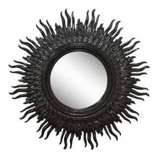 Vintage Mid-Century Hollywood Regency Wavy Black Sunburst Wall Mirror