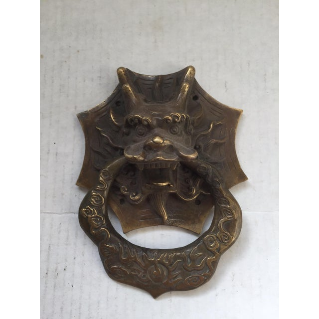 Asian dragon brass door knocker chairish - Dragon door knocker ...
