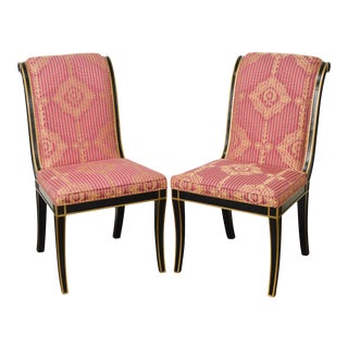Regency Directoire Style Black & Gold Frame Upholstered Side Chairs - A Pair