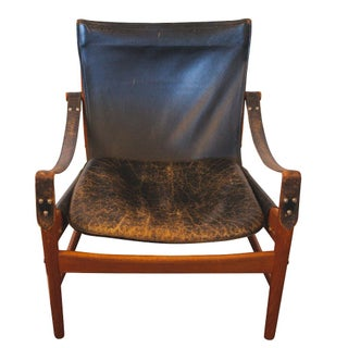 Hans Olsen Black Leather & Wood Safari Chair