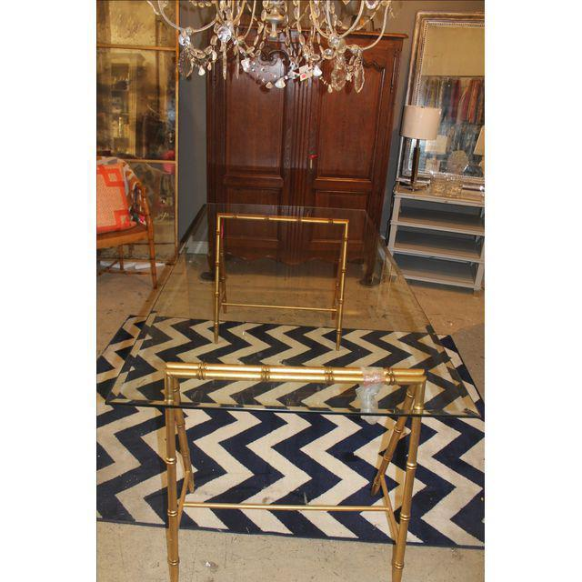 Glass & Gold Iron Faux Bamboo Dining Table - Image 6 of 6