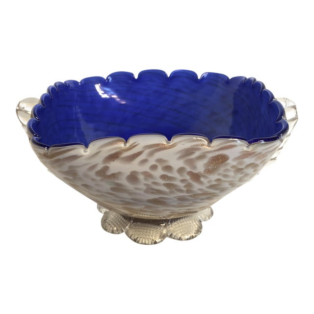 Blue & Gold Blown Glass Bowl - Image 1 of 8