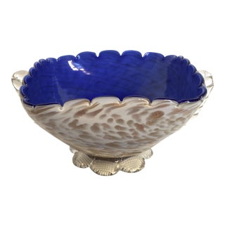 Blue & Gold Blown Glass Bowl