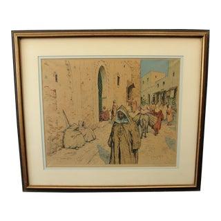 Tavik F. Simon Colored Etching Arab Shops in Tangier