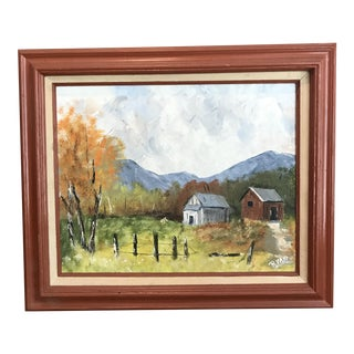 """Vintage Oil Painting of Two Barns, Signed """"Ryan"""""""