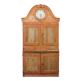 19th Century Swedish Painted Wood Cabinet with Incorporated Clock