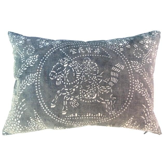 Gray Chinese Warrior Batik Pillow - Image 1 of 8