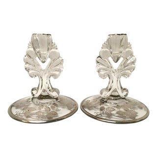 Art Deco Silver Glass Candle Holders - PaiR