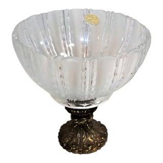 Bohemia Glass Bowl on Marble Base With Metal Pedistal, Czech Made