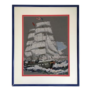 Framed Sailboat Cross-Stitch Needlepoint