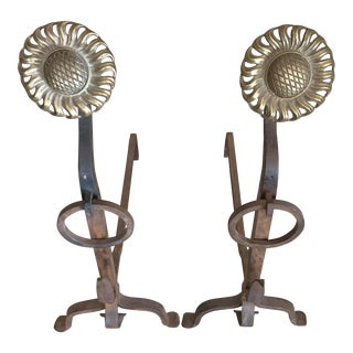 Iron and Brass Sunflower Andirons - a Pair