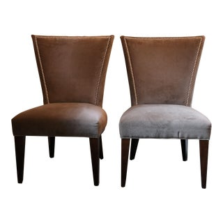 Lee Industries Taupe Velveteen Dining Chairs - A Pair