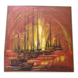 "Mid-Century ""Ships"" Oil Painting"