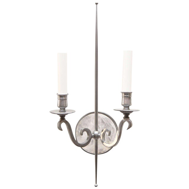 Pewter and Rock Crystal Sconces - Image 1 of 9