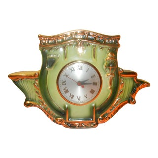 Vintage Green & Gold Leaf Porcelain Mantle Clock