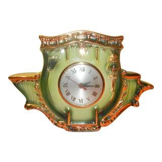 Vintage Green & Gold Leaf Porcelain Mantle Clock