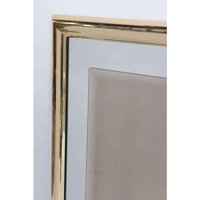 Sleek 1970s Faceted Brass Mirror with Center Bronze Mirror - Image 3 of 8