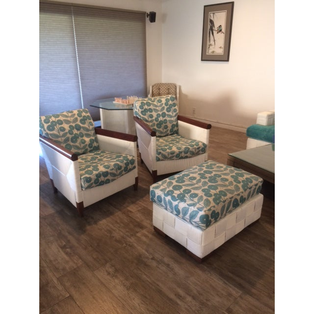 Donghia Block Island 2 Armchairs and Ottoman W/New Goose Down Pillows - Image 3 of 8