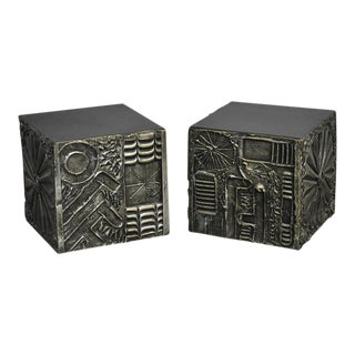 Brutalist Cube Side Tables by Adrian Pearsall