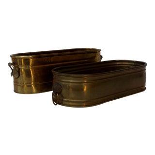 Vintage Brass Planters - a Pair