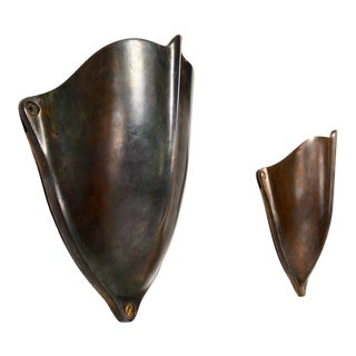 Pair of Brass Shield Shaped Wall Sconces