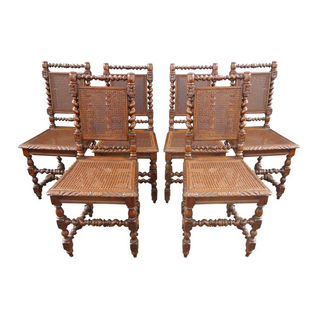 Brown Spanish Style Barley Twist Cane Dining Room Chairs