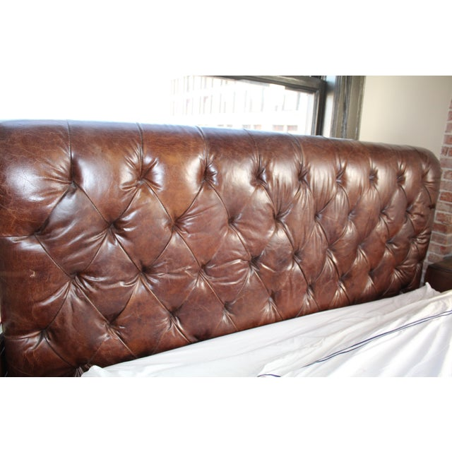 Restoration Hardware Chesterfield Leather Sleigh - Image 3 of 5