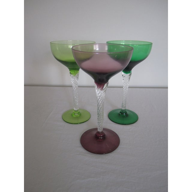 Vintage Blown Glass Champagne Glasses - Set of 3 - Image 7 of 8