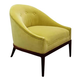1960s Chartruese Velvet Slipper Chair