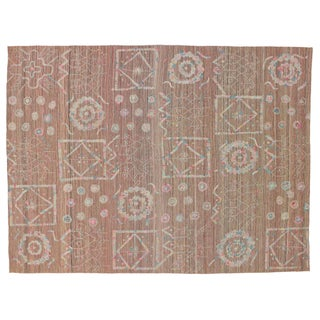 Boho Chic Vintage Embroidered Suzani Kilim Rug in Soft Pastel Colors - 9′3″ × 12′5″