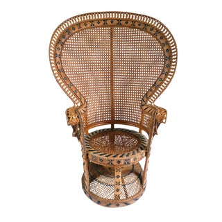 Vintage High Back Fan Peacock Rattan Chair