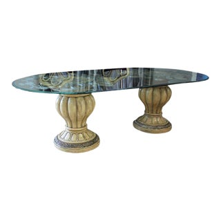 Monumental Italian Mahogany & Glass Dining Table 19th Century Circa 1900s.