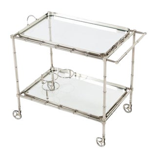 1960S SWEDISH POLISHED-NICKEL, FAUX-BAMBOO BAR CART ON CASTERS