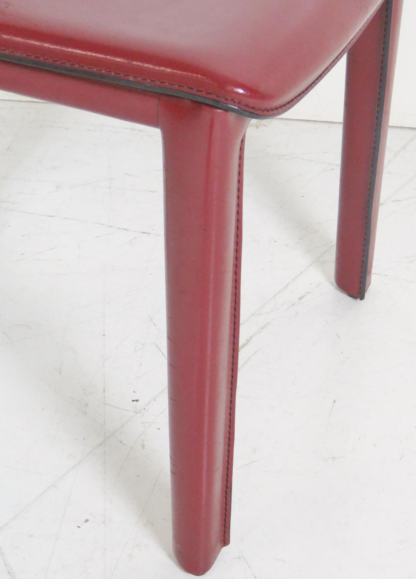Casillas Red Leather Side Chairs   Set Of 6   Image 2 Of 5