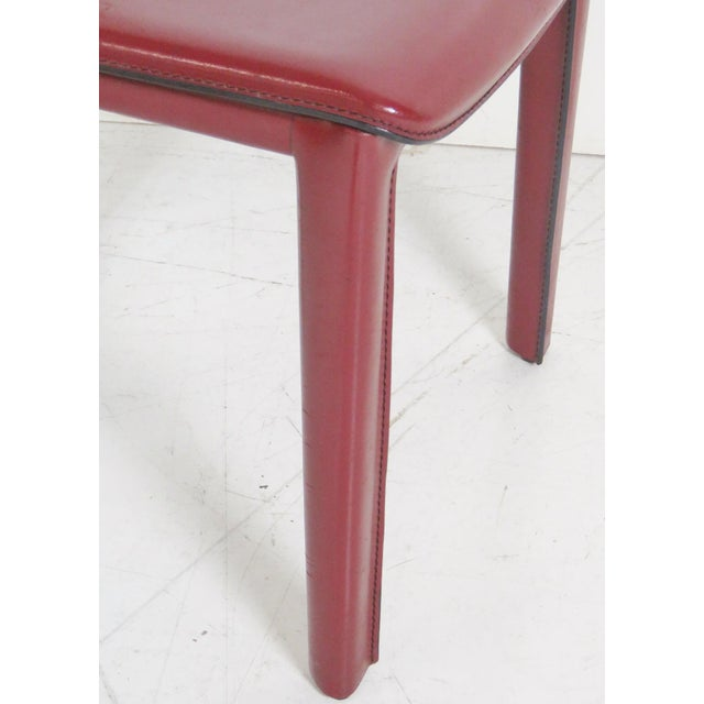 Image of Casillas Red Leather Side Chairs - Set of 6