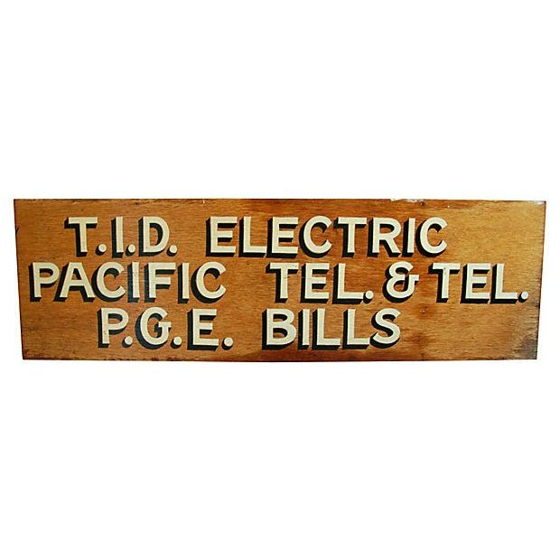 1950s Hand-Painted Wood Utility Billing Sign - Image 1 of 5