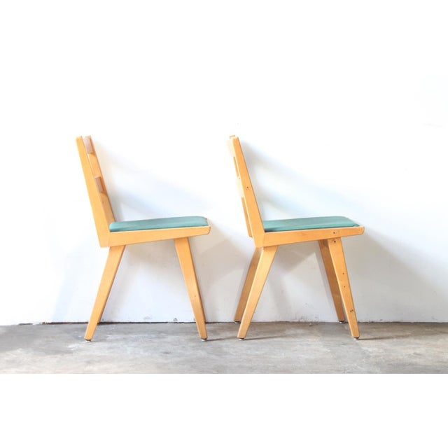 Maple & Turquoise Vinyl Side Chair - Image 3 of 7
