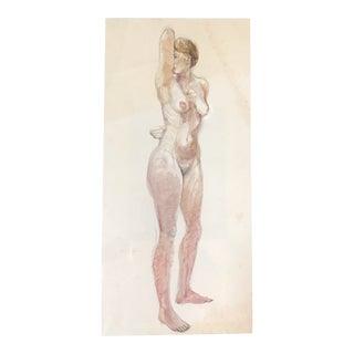 Vintage Nude Sketch/Watercolor