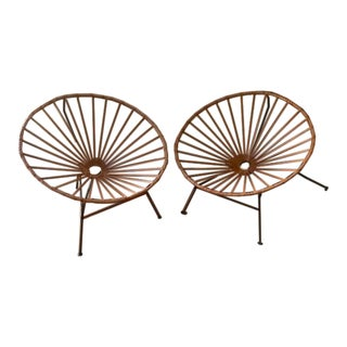 Mexa Sayulita Camel Leather Lounge Chairs - A Pair