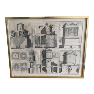 Framed Antique Architectural Drawing