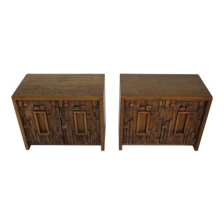 Paul Evans for Lane Mid-Century Modern Brutalist Nightstands - A Pair