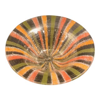 Vintage Higgins Bowl in Multicolored Fused Glass With Gold Enamel