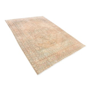Antique Unique Handwoven Peach Oushak Rug -8′1″ × 10′10″