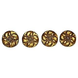 French Antique Bronze Daisy Mounts - Set of 4