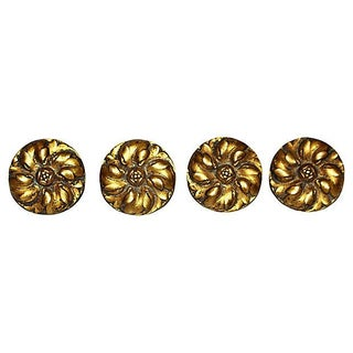 French Antique Bronze Daisy Mounts - Set of 4