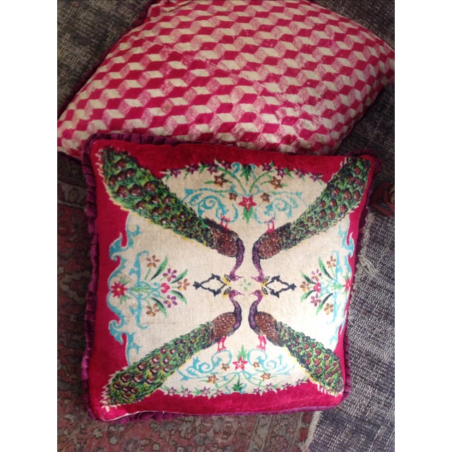 Antique Silk Velvet Persian Peacock Pillows - Pair - Image 4 of 11
