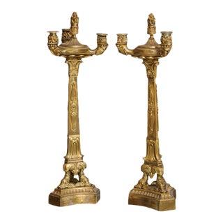 Pair of Directoire Gilt Bronze Three-Light Candelabra